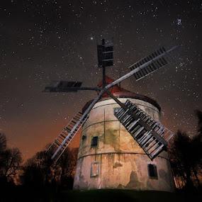 Hellish windmill by Pavel Klásek - Buildings & Architecture Public & Historical ( wind, mill, sky, stars, star, lightpainting, trees, night, windmill )