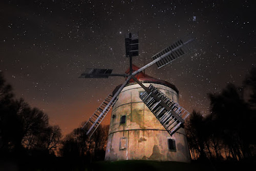Hellish windmill by Pavel Klásek - Buildings & Architecture Public & Historical ( wind, mill, sky, stars, star, lightpainting, trees, night, windmill )