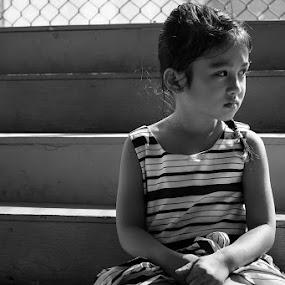 Hana by Jon Soriano - Babies & Children Children Candids ( child, girl, black and white, fujifilm, fuji, child portrait, children, kids, stripes, nikon )
