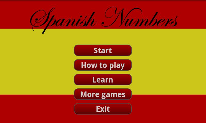 Learning Spanish numbers - screenshot