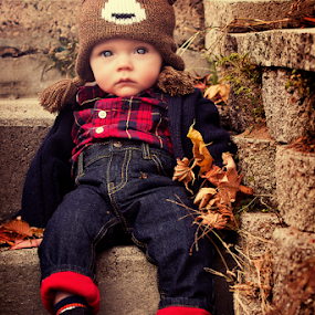 Hangin' on the steps by Joseph Humphries - Babies & Children Babies ( bear, blueeyes, foliage, precious, fall, steps, baby, handsome, flannel, hat )