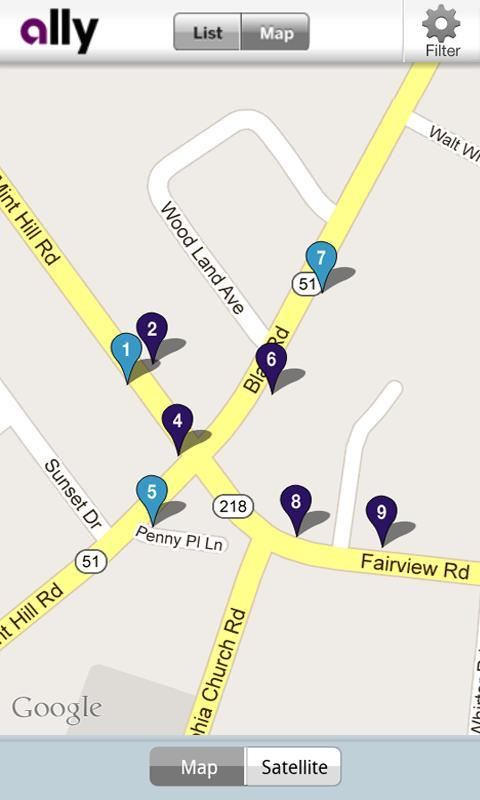 Ally's ATM & Cash Locator - screenshot