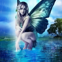 Raining Blue Fairy Butterfly icon