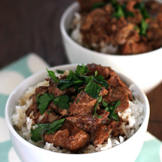 Slow Cooker Beef Tips over Rice