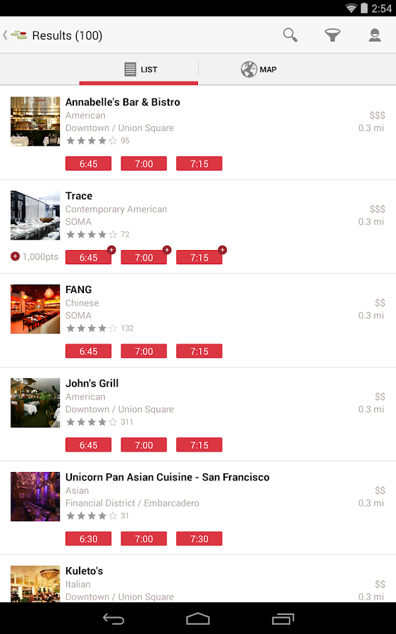 opentable free reservations screenshot