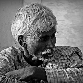 Distress by Indroneel Mukerji - Black & White Portraits & People