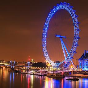 The Big Wheel by Nachau Kirwan - City,  Street & Park  Night ( colour, london eye, night photography, neon, night shot, nightscape, , Lighting, moods, mood lighting, Urban, City, Lifestyle )