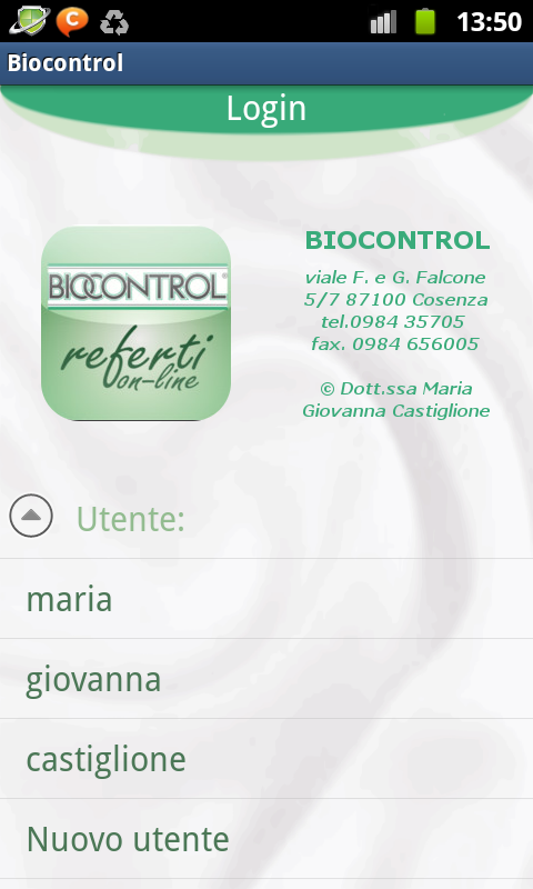 Biocontrol Referti on-line - screenshot