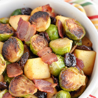 Pan Roasted Brussels Sprouts with Bacon and Apples