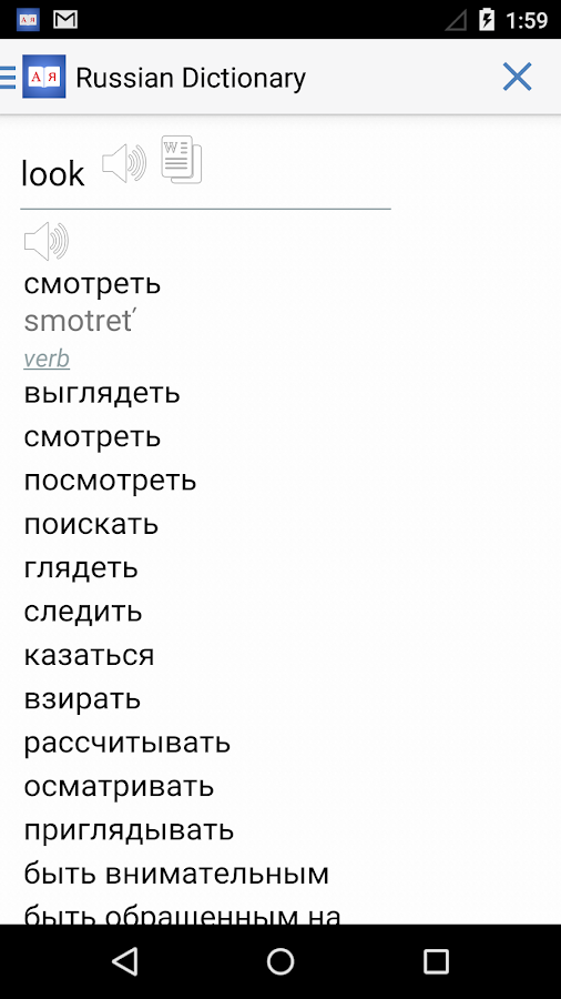 Russian English Dictionary +- screenshot