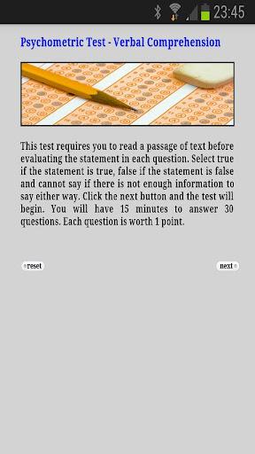 Psychometric Test Verbal Comp