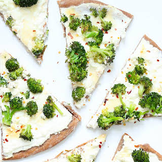 Whole wheat White broccoli pizza.