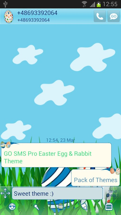 Easter Egg Rabbit GO SMS Theme- screenshot