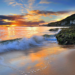 Another from a recent trip to the White Rocks Beach on the Antrim Coast. by Leslie Hanthorne - Landscapes Beaches