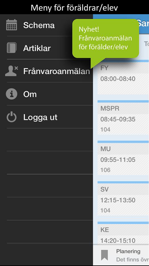 Skola24 MobilApp– skärmdump