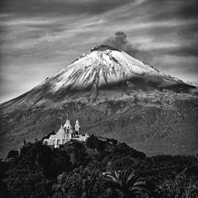 church and volcano by Cristobal Garciaferro Rubio - Black & White Landscapes ( volcano, popo, mexico, popocatepetl, smoking volcano )