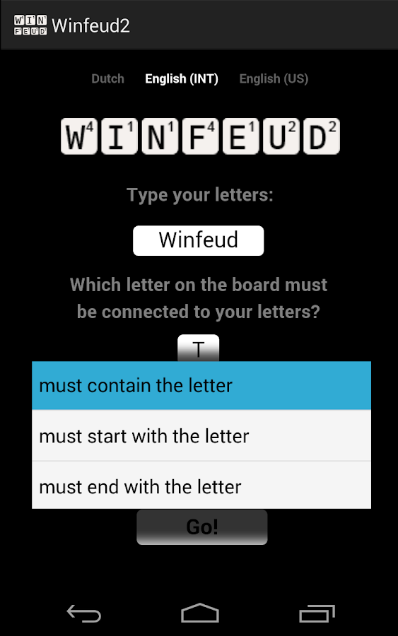 Winfeud the Wordfeud helper - screenshot