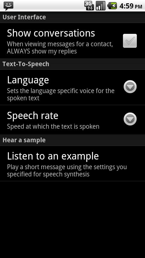 SMS Speak - screenshot