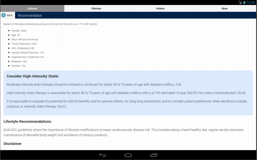 ASCVD Risk Estimator - screenshot