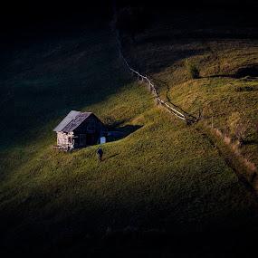 by Razvan Teodoreanu - Landscapes Mountains & Hills ( hill, path, men, house, sunlight )