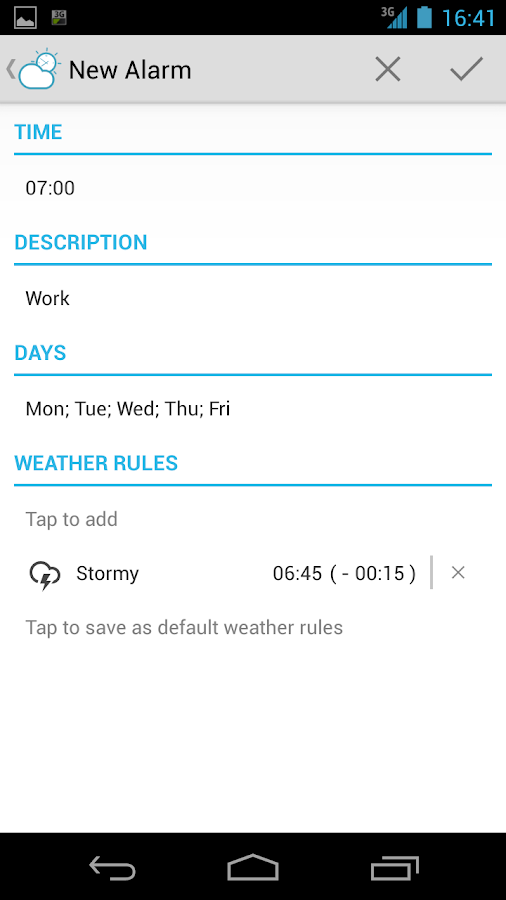 AlarMe - weather aware alarm - screenshot