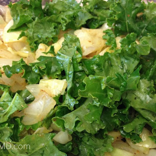 Spiced Cabbage and Kale with Sweet Onions.