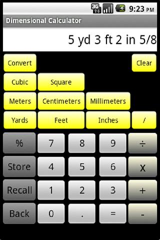 Dimensional Calculator- screenshot