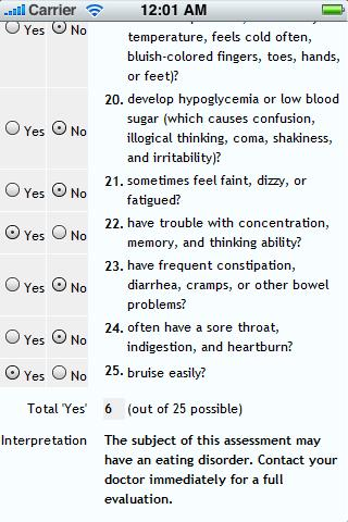 Eating Disorder Assessments - screenshot