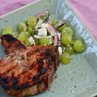 Brined, Grilled Pork Chops with Tarragon-Grape Salad.