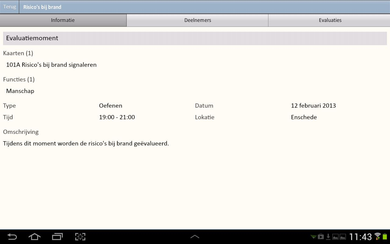 Evaluatie App - screenshot