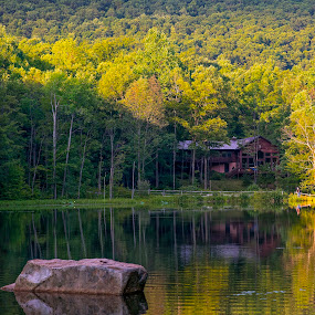 Across the Lake by Lance Emerson - Landscapes Forests ( cabin, reflection, family, lake, pennsylvania, sun )