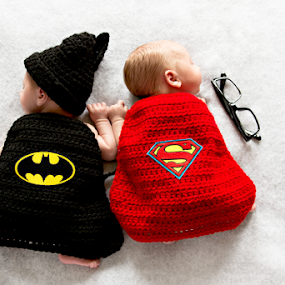 Supre Hero Twins by Amber Welch - Babies & Children Babies ( super hero, superman, infant, batman, baby, boy, twins, newborn )