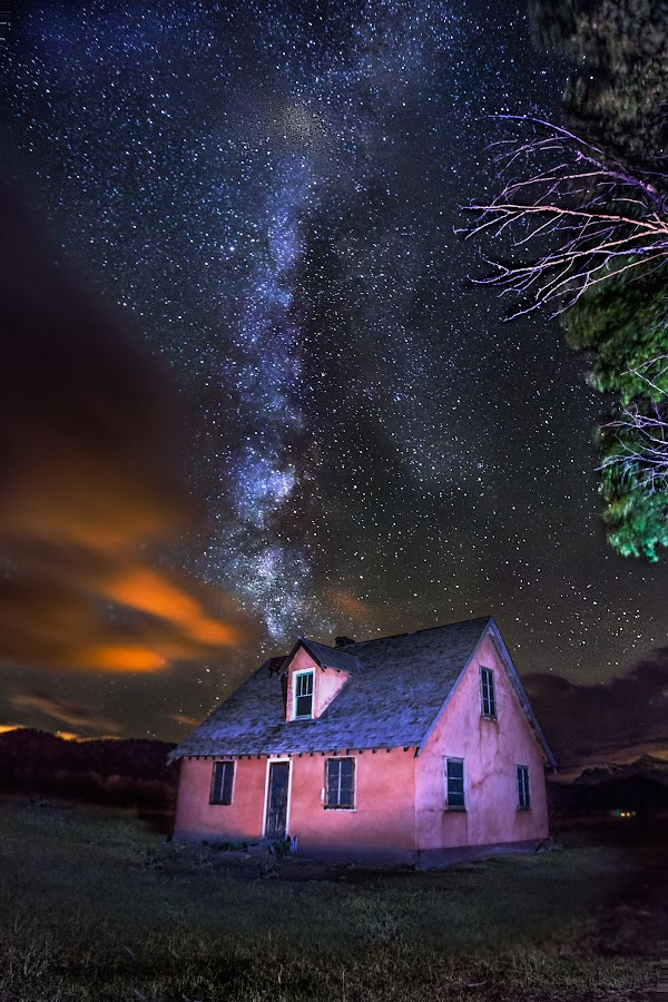 Milky Way Over The Mormon Row Home by Jerry Patterson - Landscapes Starscapes ( canon, light painting, time lapse, stars, tnp, long exposure, jackson hole, tetons, milky way )