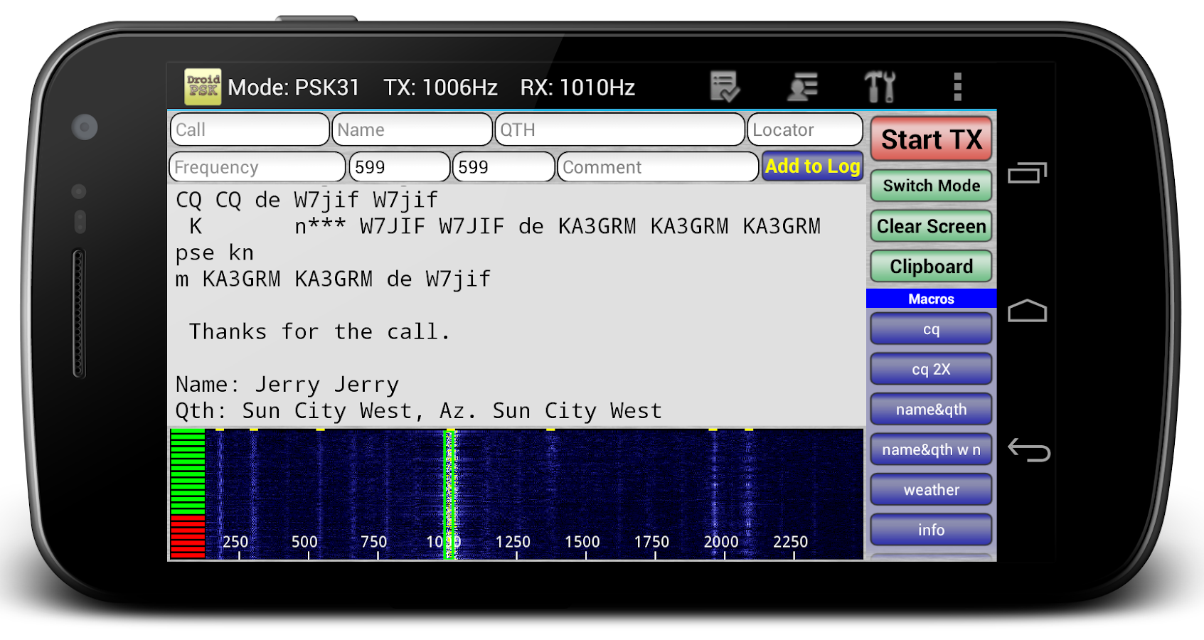 DroidPSK - PSK for Ham Radio- screenshot