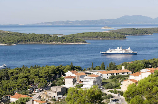 SeaDreamII-Hvar-Croatia - SeaDream II calls on Hvar, Croatia, one of the scenic destinations during a European sailing.