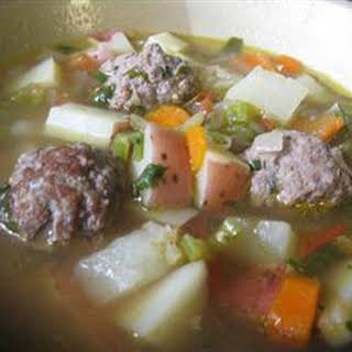 Homemade Albondigas Soup.