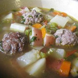 Homemade Albondigas Soup.