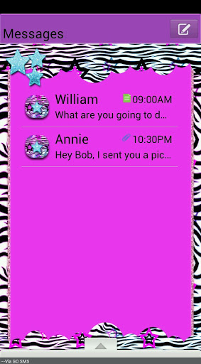 GO SMS THEME ZebraStarsQT