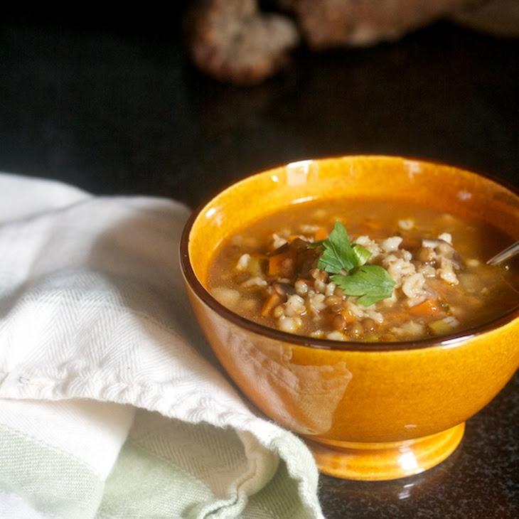 Lentil & Barley Soup with Mushrooms