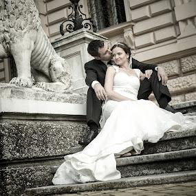 on a stairs by Jovan Barajevac - Wedding Bride & Groom ( sremski karlovci, toxedo, novi sad, retro, just married, love, sitting, stairs, wedding, dress, couple, bride, groom )