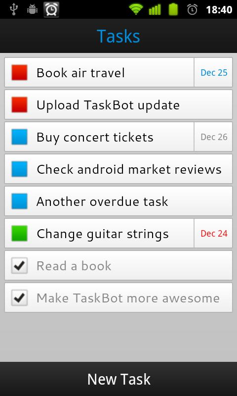 TaskBot - To-do List - screenshot