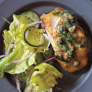 Pan-Fried Cod With Mustard-Caper Sauce.