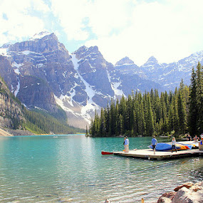 Moraine Lake by Leong Jeam Wong - Landscapes Mountains & Hills ( glacier, water, conifer, hill mountain, lake, rock, pine, banff, moraine )
