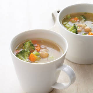Breakfast Vegetable-Miso Soup with Chickpeas.
