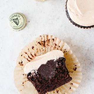 CHOCOLATE STOUT CUPCAKES WITH IRISH WHISKEY GANACHE + IRISH CREAM FROSTING.