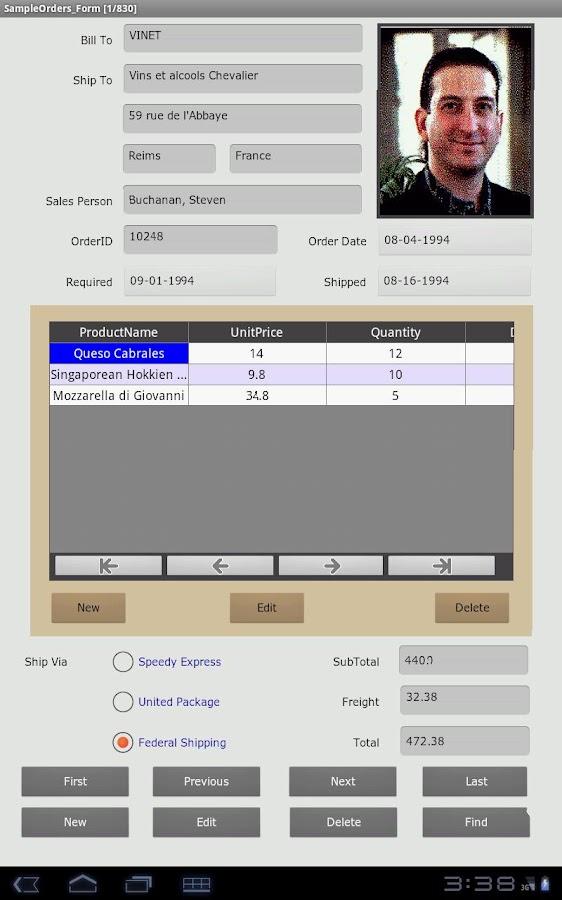 Cellica Database Internet MS Access,SQLServer form- screenshot