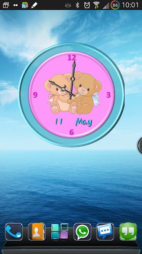 Lovely Teddy Bear Clock Widget