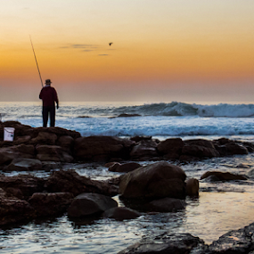 Lone Fisherman by Stephen Fouche - Landscapes Waterscapes (  )