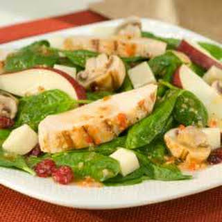 Spinach & Mushroom Salad With Grilled Chicken.