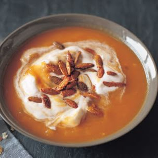 Pumpkin Soup with Sweet and Spicy Pumpkin Seeds
